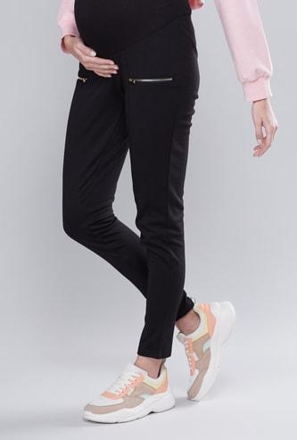 Maternity Plain Full Length Mid-Rise Ponte Leggings with Zip Detail