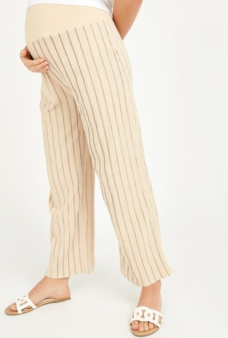 Wide Fit Striped Palazzo Pants with Elasticised Waistband