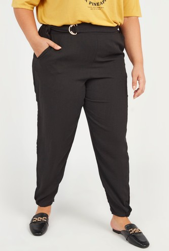 Solid Mid-Rise Pants with Pocket Detail and Belt