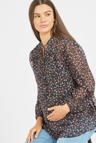 Maternity All Over Printed Top with Long Sleeves and Tie Ups