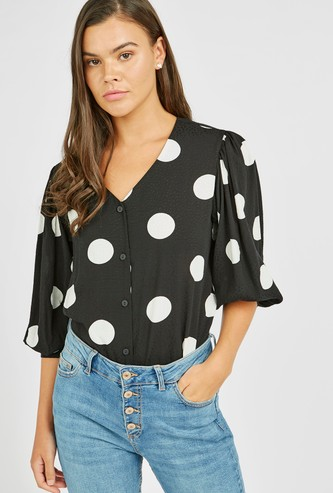 Polka Dot Print Shirt with V-neck and 3/4th Sleeves