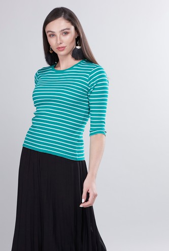 Striped T-shirt with Round Neck and 3/4 Sleeves