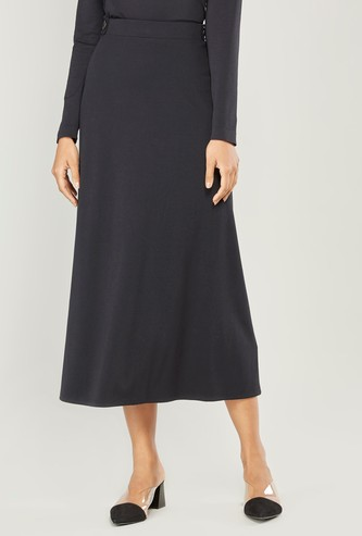 Ribbed Midi A-line Skirt with Button Detail and Elasticised Waistband