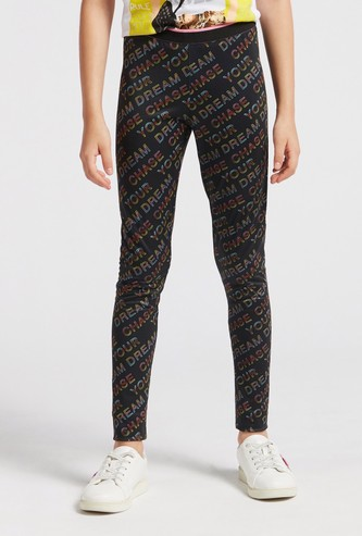 All-Over Text Print Leggings with Elasticised Waistband