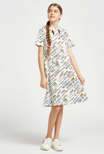 All-Over Print Dress with Short Sleeves and Hood