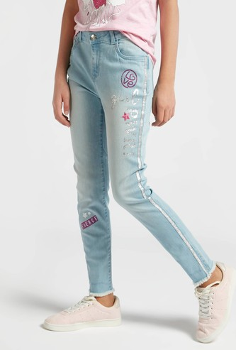 Printed Jeans with Side Tape Detail and Pockets