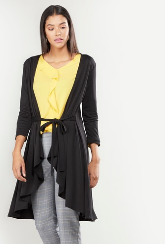 Plain Longline Shrug with Long Sleeves and Tie Ups