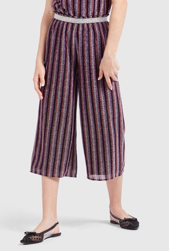 Lurex Striped Culottes with Elasticated Waistband