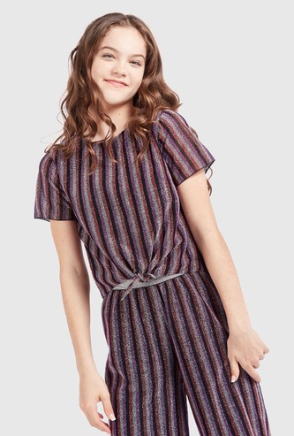 Striped Top with Short Sleeves and Knot Detail