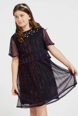 Embellished Round Neck Dress with Short Sleeves and Keyhole Closure
