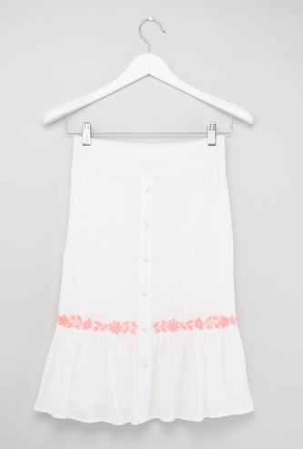 Embroidered Midi Skirt with Button Detail and Elasticised Waistband