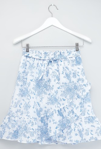 Floral Print Knee Length Skirt with Elasticised Waistband and Tie Ups