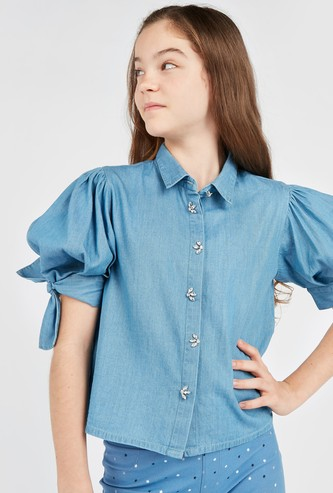 Embellished Denim Shirt with Short Sleeves