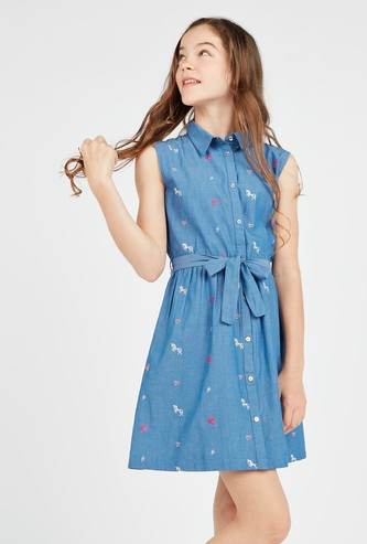 Embroidered Sleeveless Dress with Spread Collar and Tie Ups