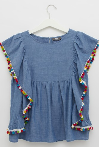Textured Top with Round Neck and Pom-Pom