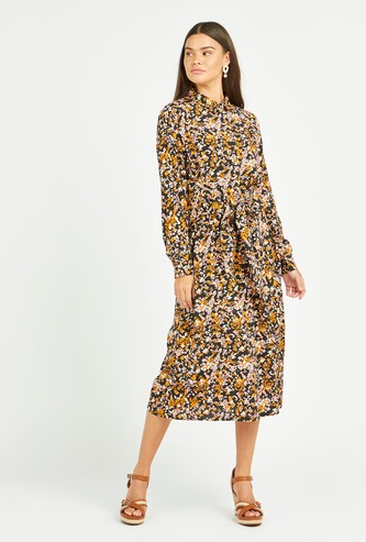 Printed Midi A-line Dress with Long Sleeves and Wrap Detail