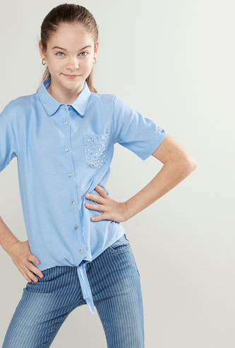 Embellished Detail Shirt with Short Sleeves and Knot Detail