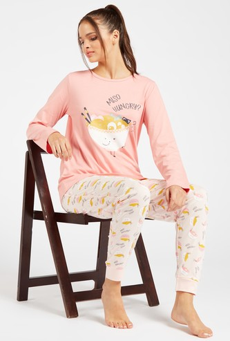 Printed Round Neck T-shirt and Full Length Joggers Set