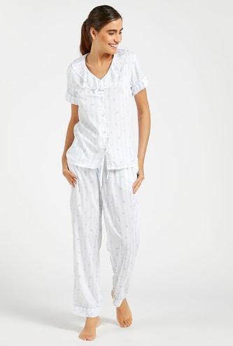Printed Button Up Shirt and Full Length Pyjama Set