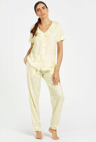 Printed V-neck Shirt and Full Length Pyjama Set