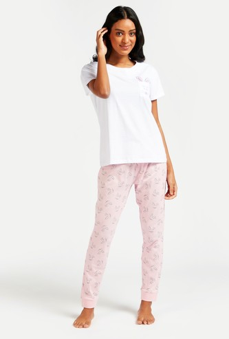 Bunny Print Round Neck Top and Full Length Pyjamas Set
