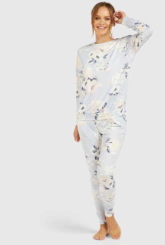 All-Over Floral Print Sweatshirt and Pyjama Set