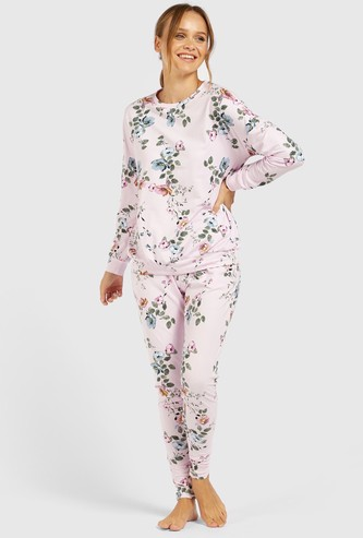 All-Over Floral Print Long Sleeves Sweatshirt and Pyjama Set