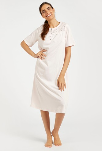 Round Neck Sleep Gown with Schiffli Detail Yoke and Short Sleeves
