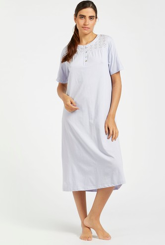 Round Neck Sleep Gown with Embroidered Yoke and Short Sleeves