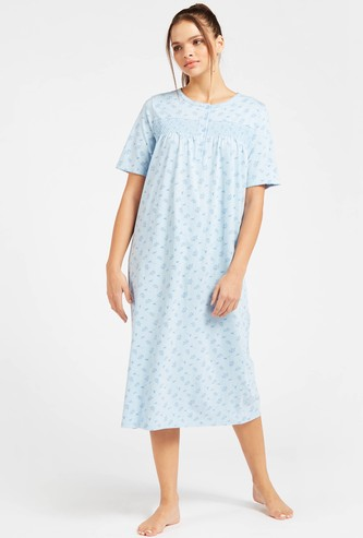 Printed Night Gown with Short Sleeves