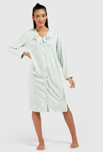 Printed Sleepshirt with V-neck and Long Sleeves