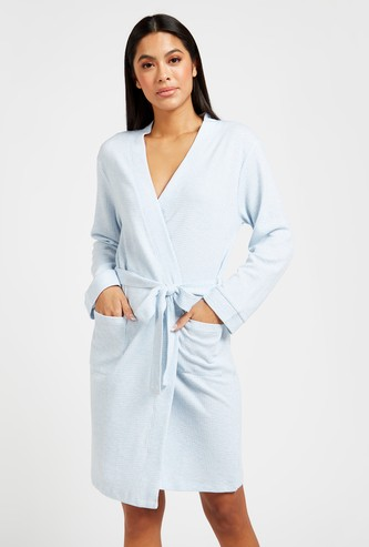 Textured Bathrobe with Long Sleeves and Tie-Ups