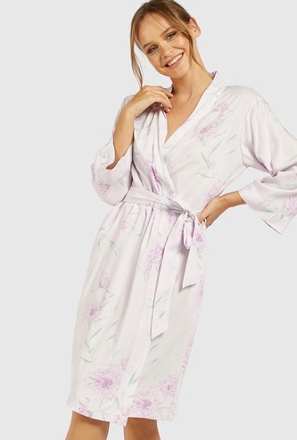 Floral Print V-neck Robe with Waist Tie-Up