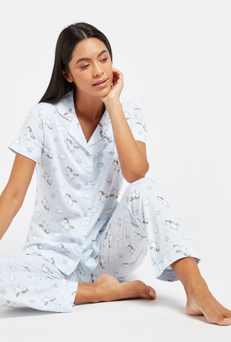 Printed Short Sleeves Shirt and Full Length Pyjama Set