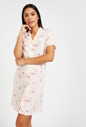 Printed Sleepshirt with Short Sleeves and Collared Neck