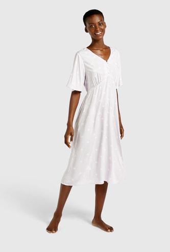 Polka Dot Print Sleep Dress with V-neck and Flared Sleeves