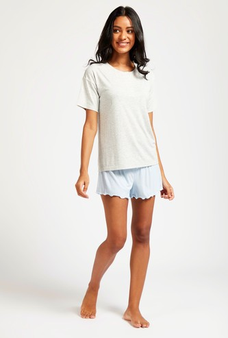 Solid Round Neck T-shirt with Shorts Sleep Set