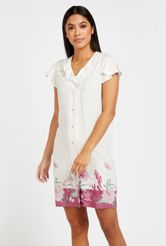 Printed Sleepshirt with V-neck and Short Sleeves