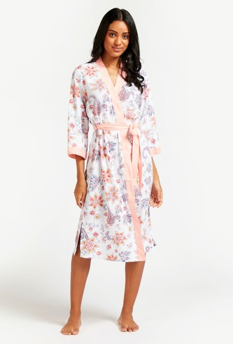 Floral Print Robe with 3/4 Sleeves and Tie-Ups