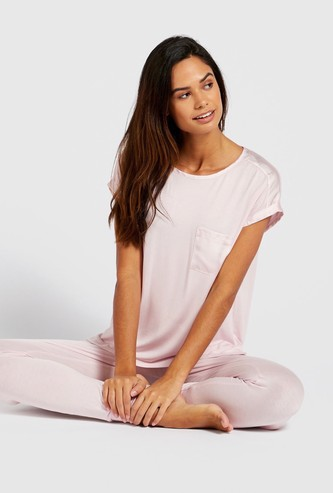 Solid Extended Sleeves T-shirt and Pyjama Set