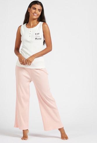 Text Print Sleeveless Vest and Pyjama Set