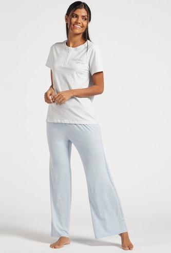 Henley Neck T-shirt and Pyjama Set