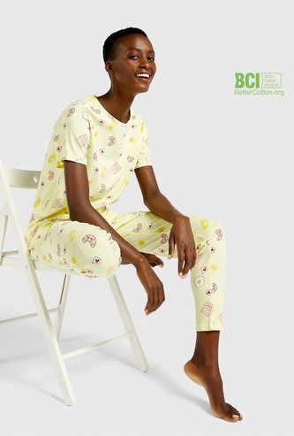 All-Over Print Short Sleeves T-shirt and Pyjama Set