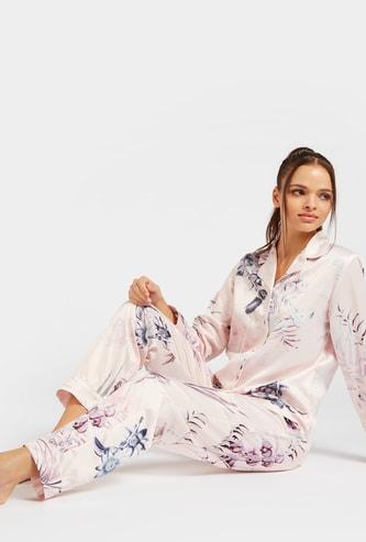Floral Print Long Sleeves Sleepshirt and Full Length Pyjama Set