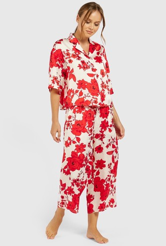 Floral Print 3/4 Sleeves Shirt and Cropped Pyjama Set