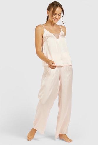 Solid V-neck Sleeveless Top and Pyjama Set