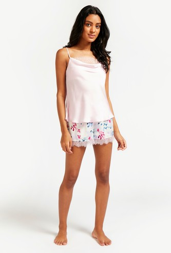 Lace Detail Scoop Neck Top with All-Over Print Shorts