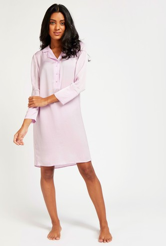 Solid Sleep Dress with Spread Collar and Long Sleeves