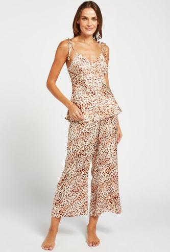 All-Over Print V-neck Top and Pyjama Set