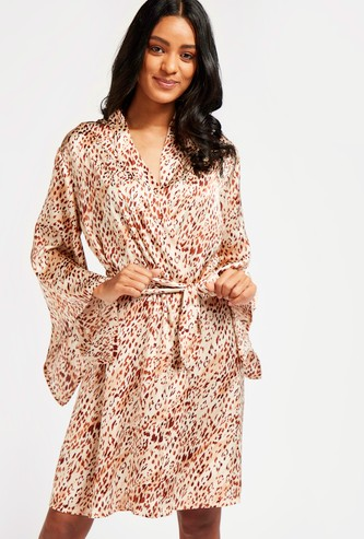 All-Over Print Robe with Long Sleeves and Tie-Ups